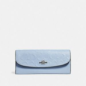 NEW Coach Embossed Signature Leather Slim Wallet